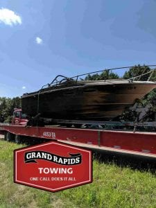 Boat sitting on trailer during 24 hour towing