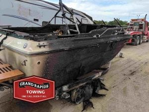 Burned Out Boat and Trailer before 24 hour towing